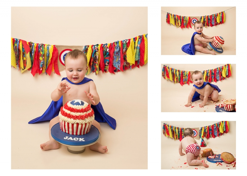 Marvel Captain America Themed Outfit with matching bunting - Cake Smash Photographs