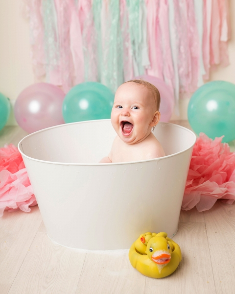 Cake Smash and Bath Splash in vintage bath at Hoylake's award winning photo studio