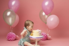 Pink cake smash set up for first birthday photo shoot Wirral