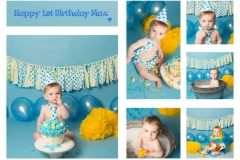 Blue and Yellow Themed Cake Smash and Splash for Boy's First Birthday - Professional Photography Wirral