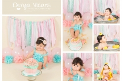 Girl's First Birthday Cake Smash and Splash, with lots of bubbles - Baby Photo Studio based in Wirral North West