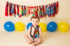 Marvel Themed Outfit part of a Custom Cake Smash and Splash Session at Derya Vicars Photography Newborn, Baby and Children Photographer