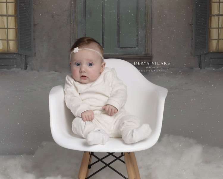 Young baby at Christmas in Wirral studio