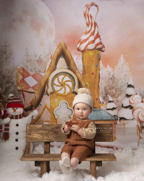Gingerbread Village scene in Merseyside photo studio
