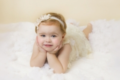 Family photo session Wirral - girl in white dress and head band