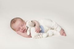 Baby sleeping with teddy toy all natural colours - Cheshire and North West Baby Photo Studio