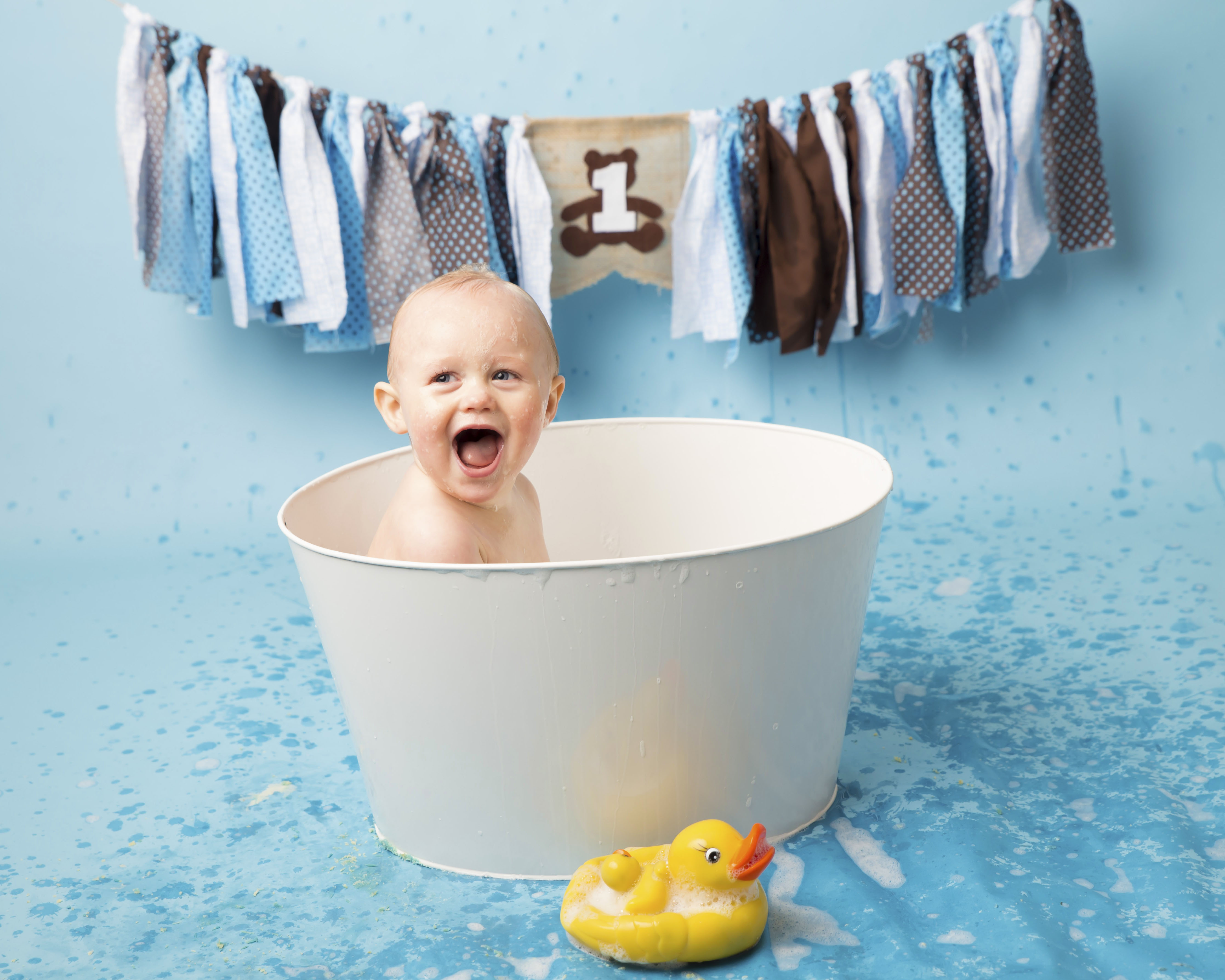 Baby Boy in a white tin bath with a yellow rubber duck - Wirral based Photographer - Hoylake, Caldy, New Brighton, Wallasey, Moreton