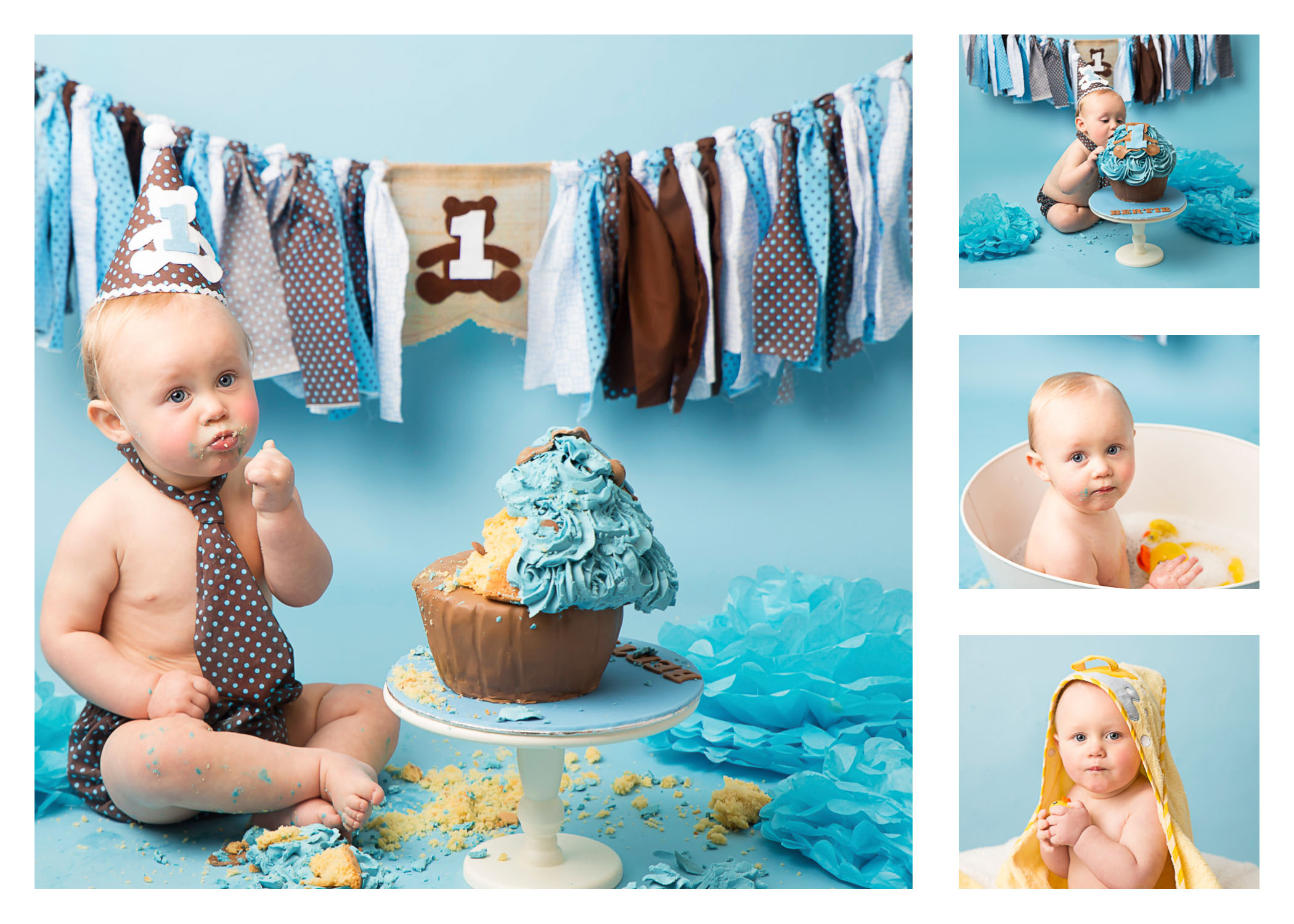 Multiple pictures of a Wirral based Cake Smash and Splash